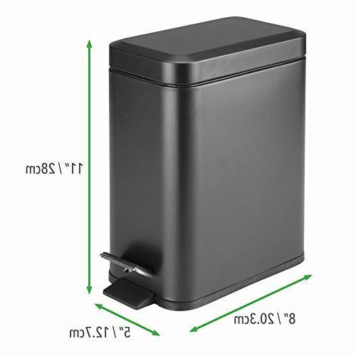 mDesign Liter Small Trash Can Wastebasket, Bin for Room, Craft Room, Office Liner -