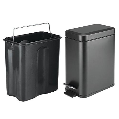 mDesign Rectangular Small Can Bin Room, Room, Liner Bucket -