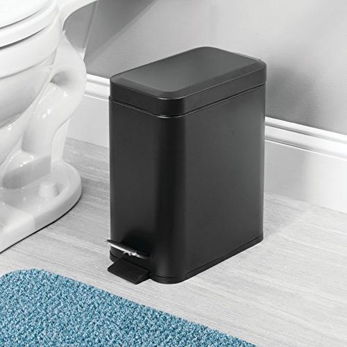 mDesign 5 Liter Small Step Can Bin for Bathroom, Room, Kitchen, Craft Room, Office Liner Bucket Black