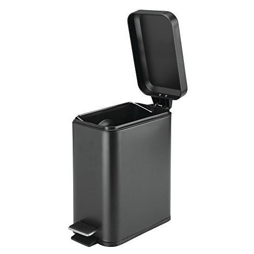 mDesign 5 Liter Small Steel Step Can Bin Powder Room, Room, Office - Removable Liner Black