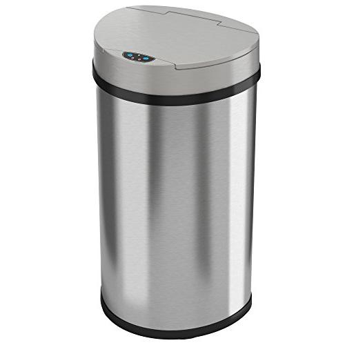 semi round touchless trash can