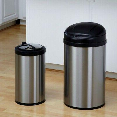 set of 2 toucheless stainless steel trash