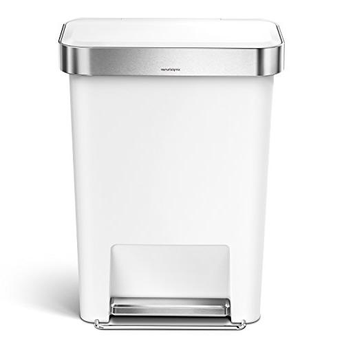 simplehuman Liter / 12 Gallon Rectangular Kitchen Step Trash Can Liner White with Stainless Steel Rim Step