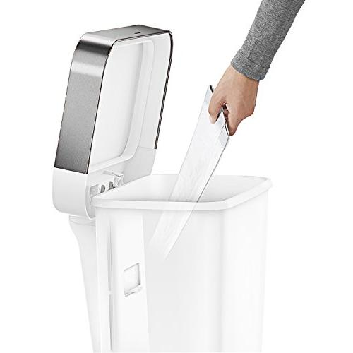 simplehuman 12 Gallon Rectangular Step Trash Can Liner Pocket, Plastic with Steel Rim Step Pedal