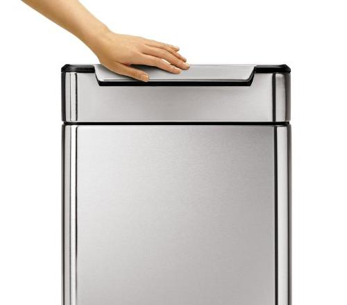 simplehuman 48 12.7 Gallon Stainless Steel Touch-Bar Trash Can Recycler, Stainless Steel,
