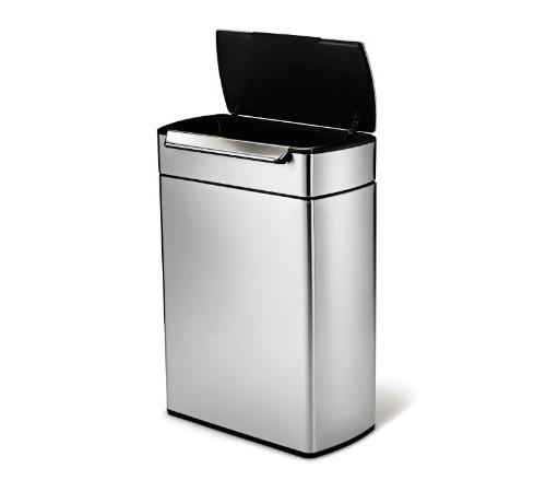 simplehuman 12.7 Stainless Touch-Bar Kitchen Dual Trash Stainless
