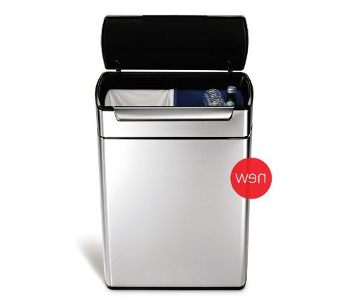 simplehuman 12.7 Gallon Stainless Touch-Bar Kitchen Dual Trash Brushed Stainless