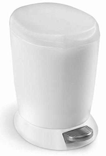 simplehuman 6 1.6 Compact Plastic Round Bathroom Can, White