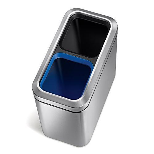 simplehuman Slim Open Recycler, 20 L/5.3 Gallon, Steel