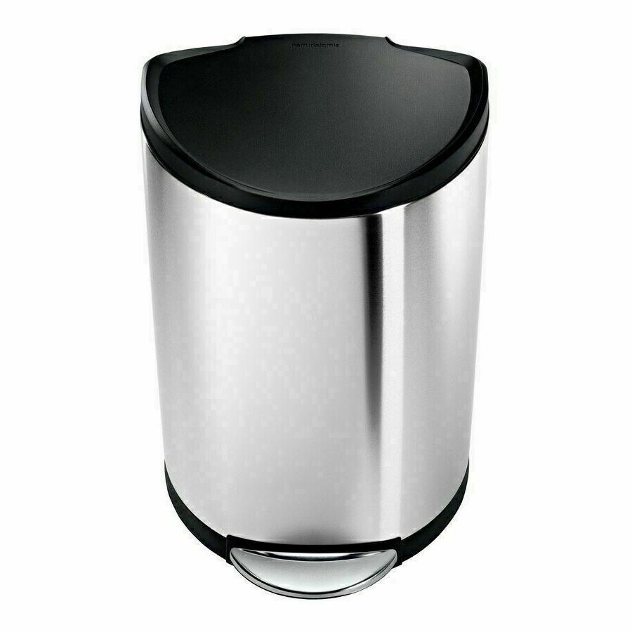 simplehuman Semi-Round Step Trash Can, Brushed Stainless Ste