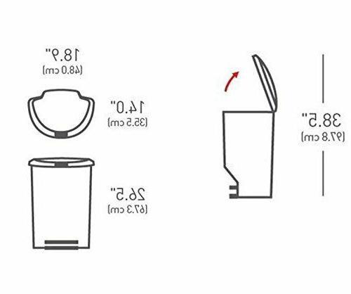 simplehuman Semi-Round Trash Can, Black Plastic, L /