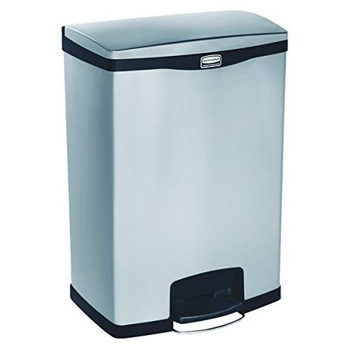 Rubbermaid Front Trash Can, Stainless Steel, Black