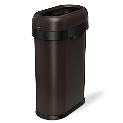 slim open trash can