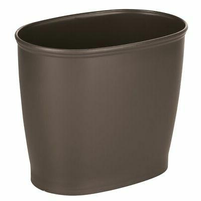 mDesign Small Plastic Oval Trash Can Garbage Wastebasket - E