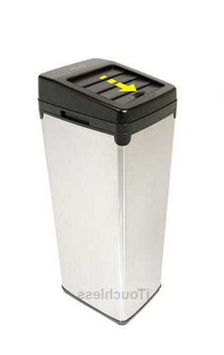 iTouchless 14 Touchless Trash Can SX, White Steel, 1