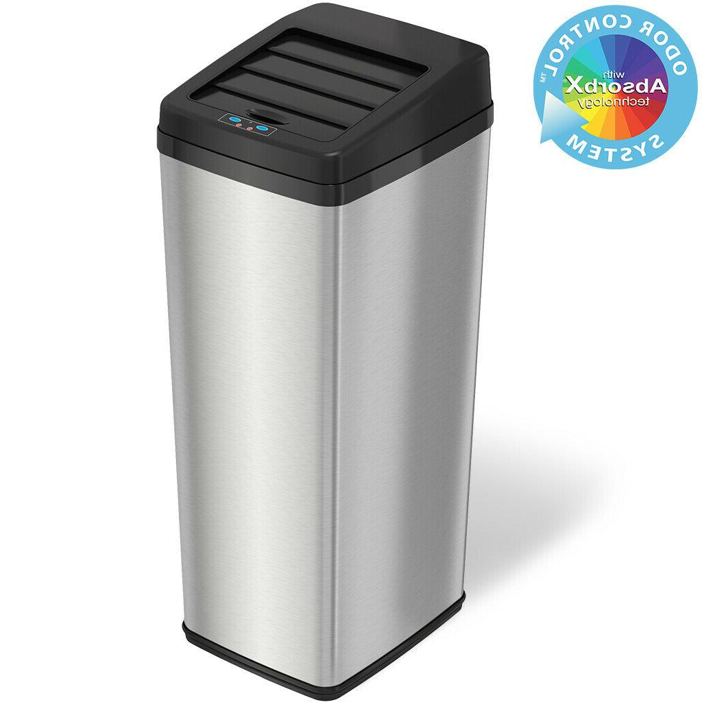 iTouchless 14 Gallon Space-Saving Touchless Trash Can SX, St