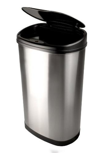 Nine 13.2-Gallon Stainless Steel Oval Sensored Trash Can Stainless Lid
