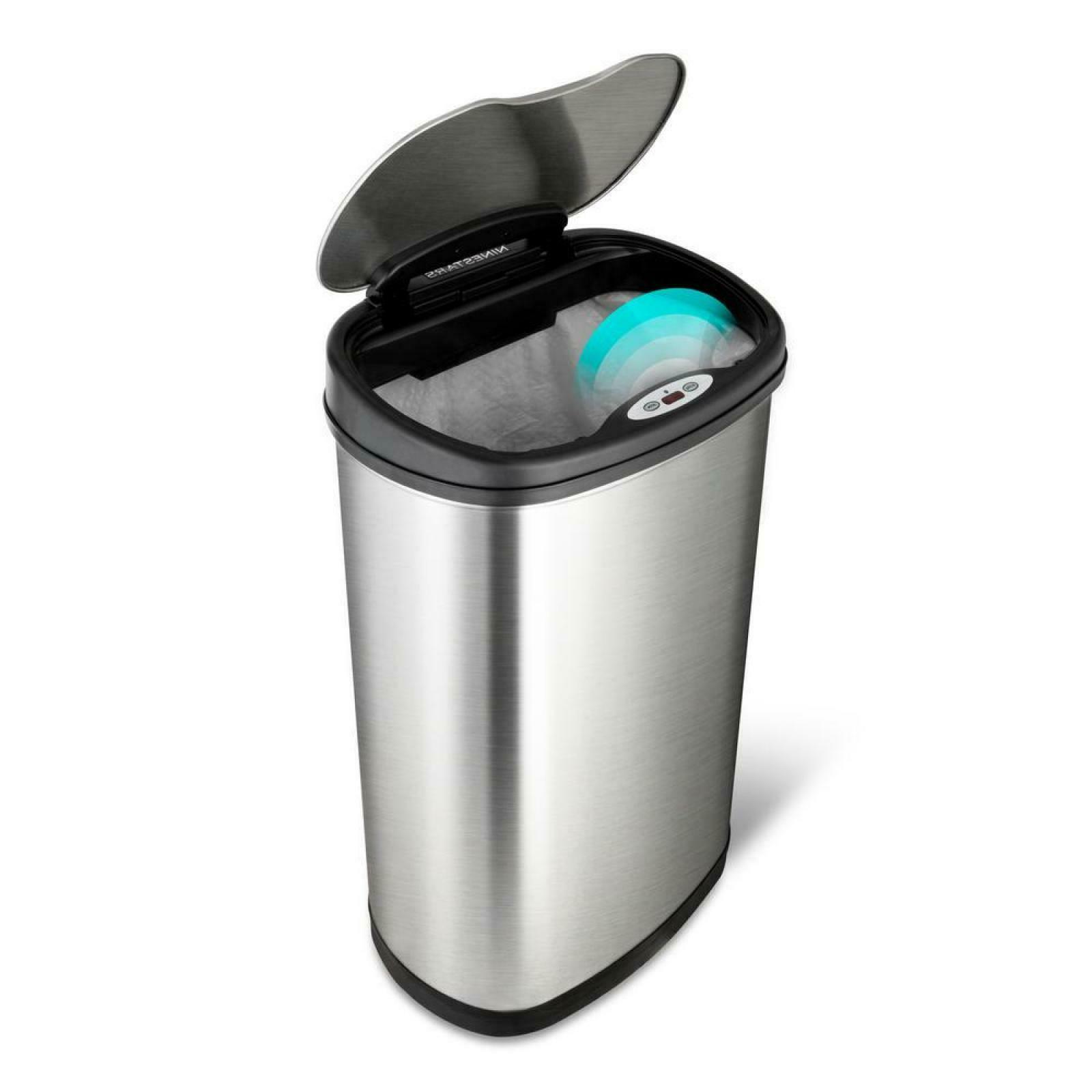 stainless steel oval sensored trash
