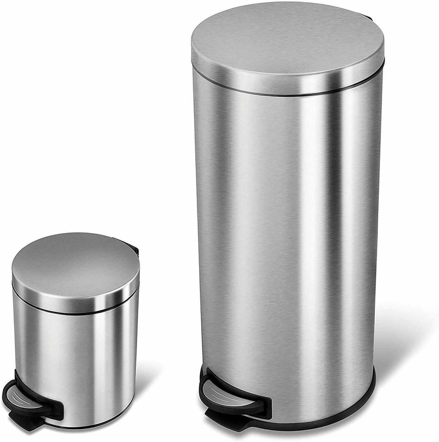 NINESTARS CB-SOT-30-1/5-1 Step-on Trash Can Combo Set, 8 Gal