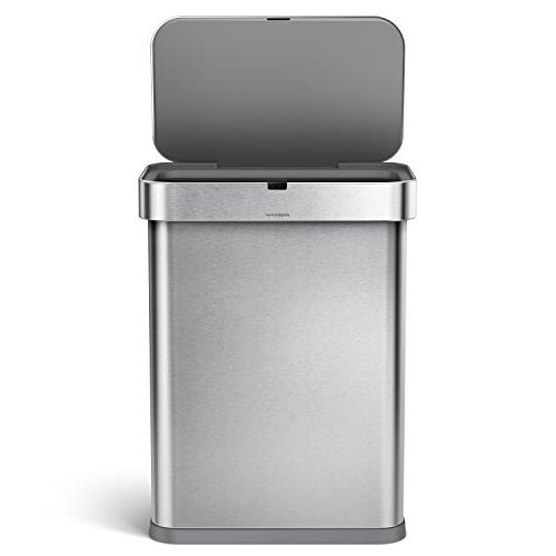 simplehuman 58 Liter / 15.3 Gallon Steel Touch-Free Voice Motion Sensor, Voice Steel