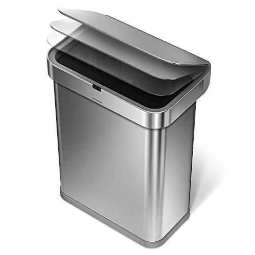 simplehuman 58 15.3 58L Steel Touch-Free Kitchen Sensor Trash Voice and Motion Voice Activated,