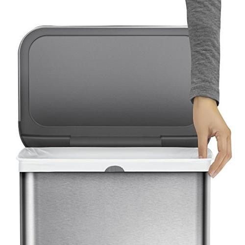 simplehuman 58 15.3 Gallon Steel Sensor Voice and Motion Sensor, Voice Brushed Steel