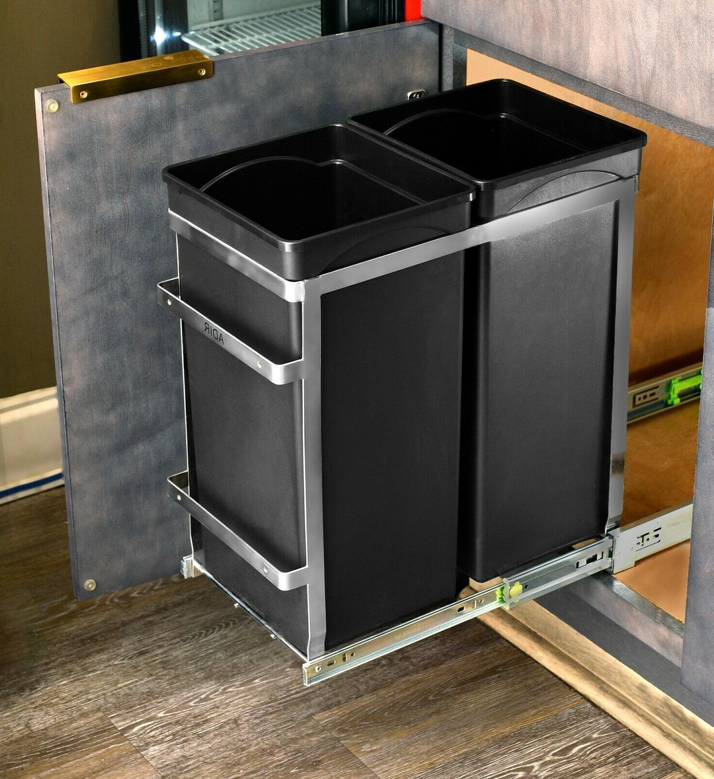 AdirHome Steel Double Pull-Out Under Counter Trash Cans Cabi