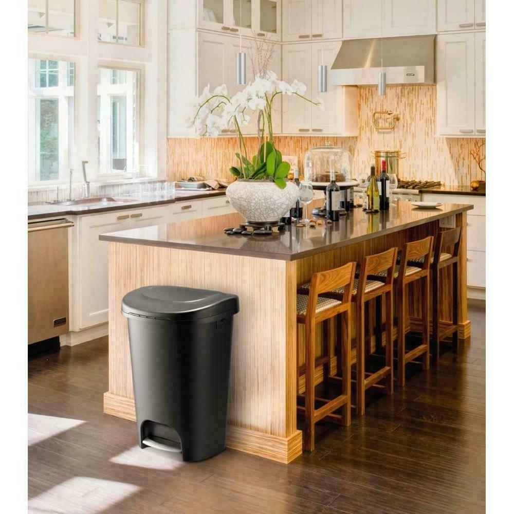 Durable Step On Can Bin Container Indoor Gallon Black NEW