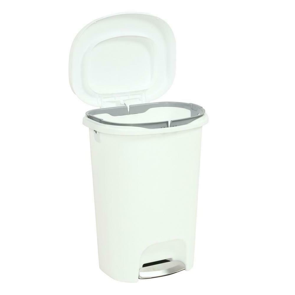Rubbermaid Trash Can Kitchen Waste Basket 13 Gal. White Step