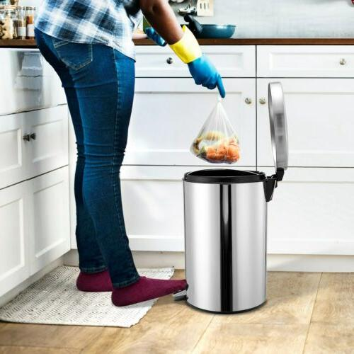 Step Pedal Garbage Bin Round Stainless New