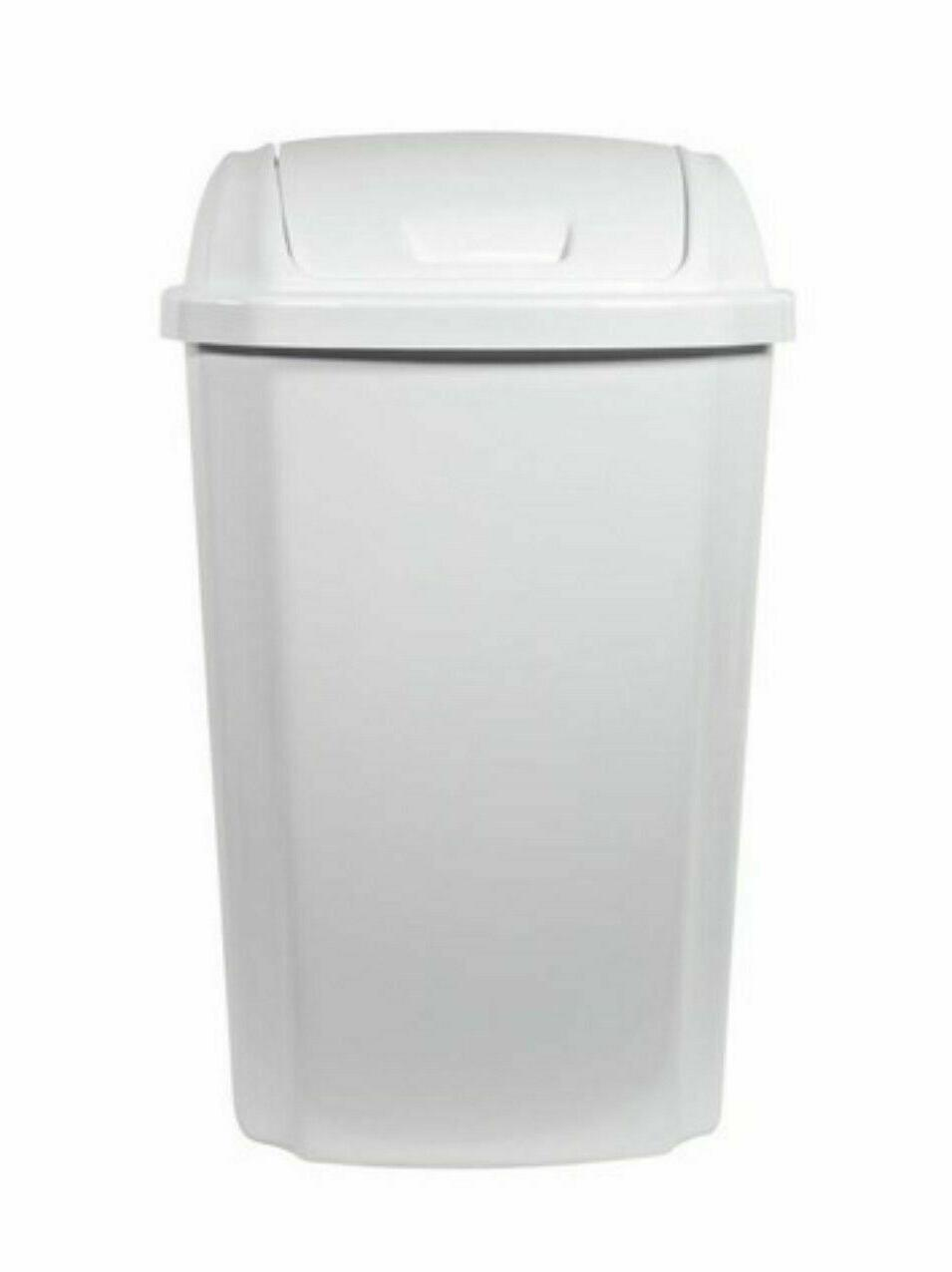 Hefty Swing-Lid 13.5-Gallon Wastebasket Trash Can White