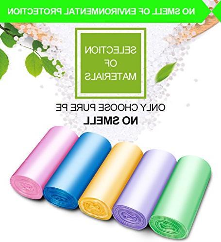 Small Trash Bags,2.6 Garbage Bags Bathroom Trash Bedroom Kitchen Counts 5 Color