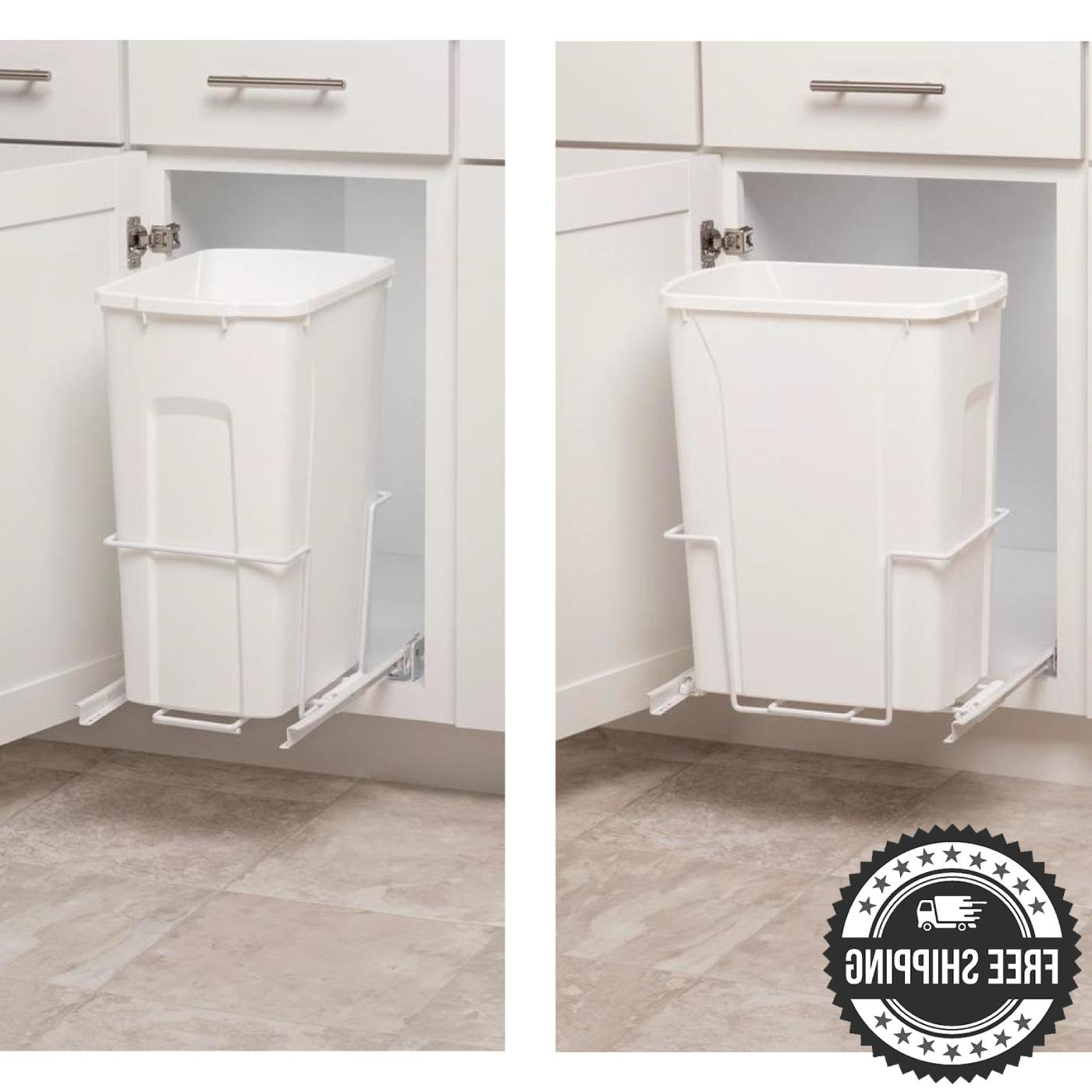 trash bin pull out can white 35