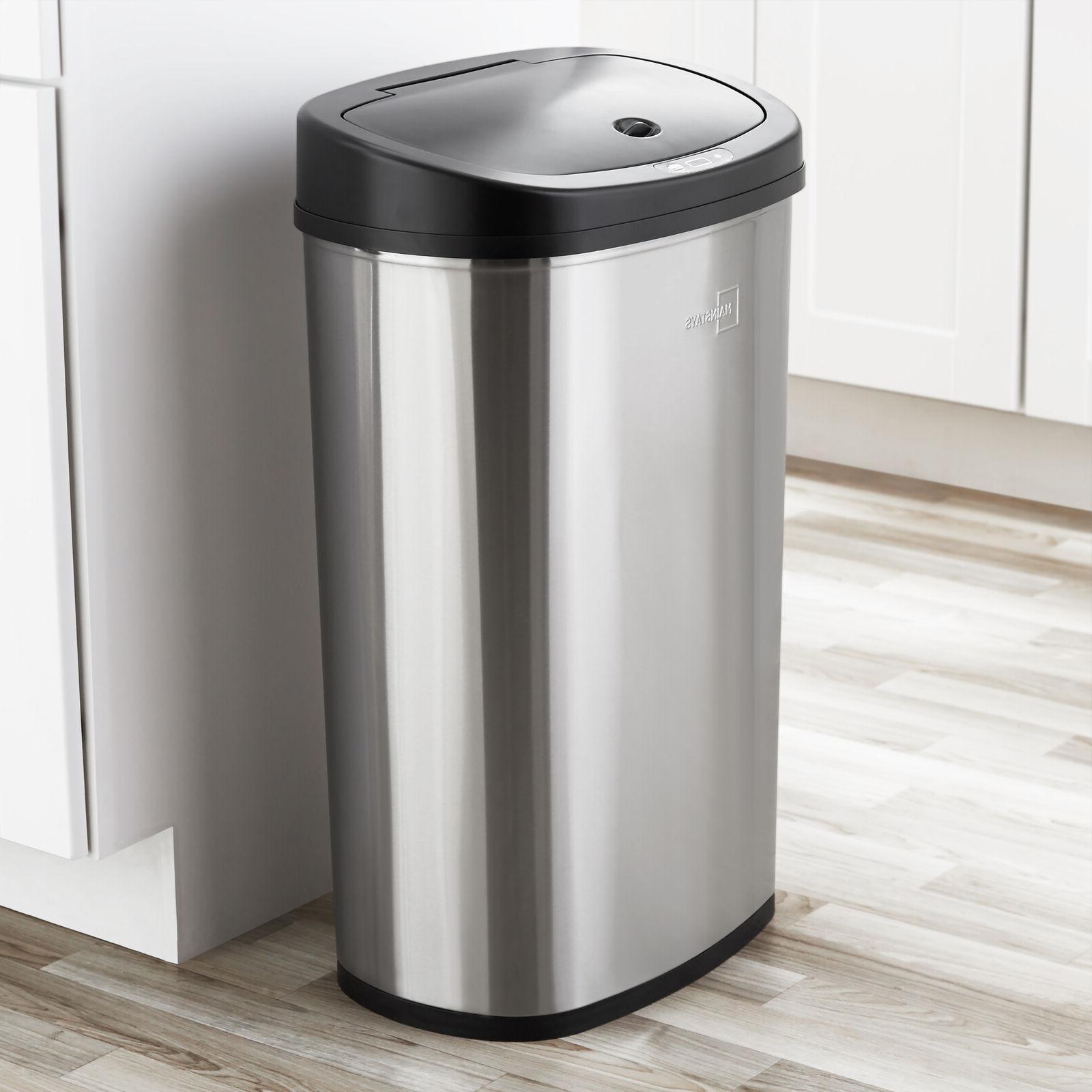 Trash Can Motion Sensor 13 Gal Stainless Steel Kitchen Garba
