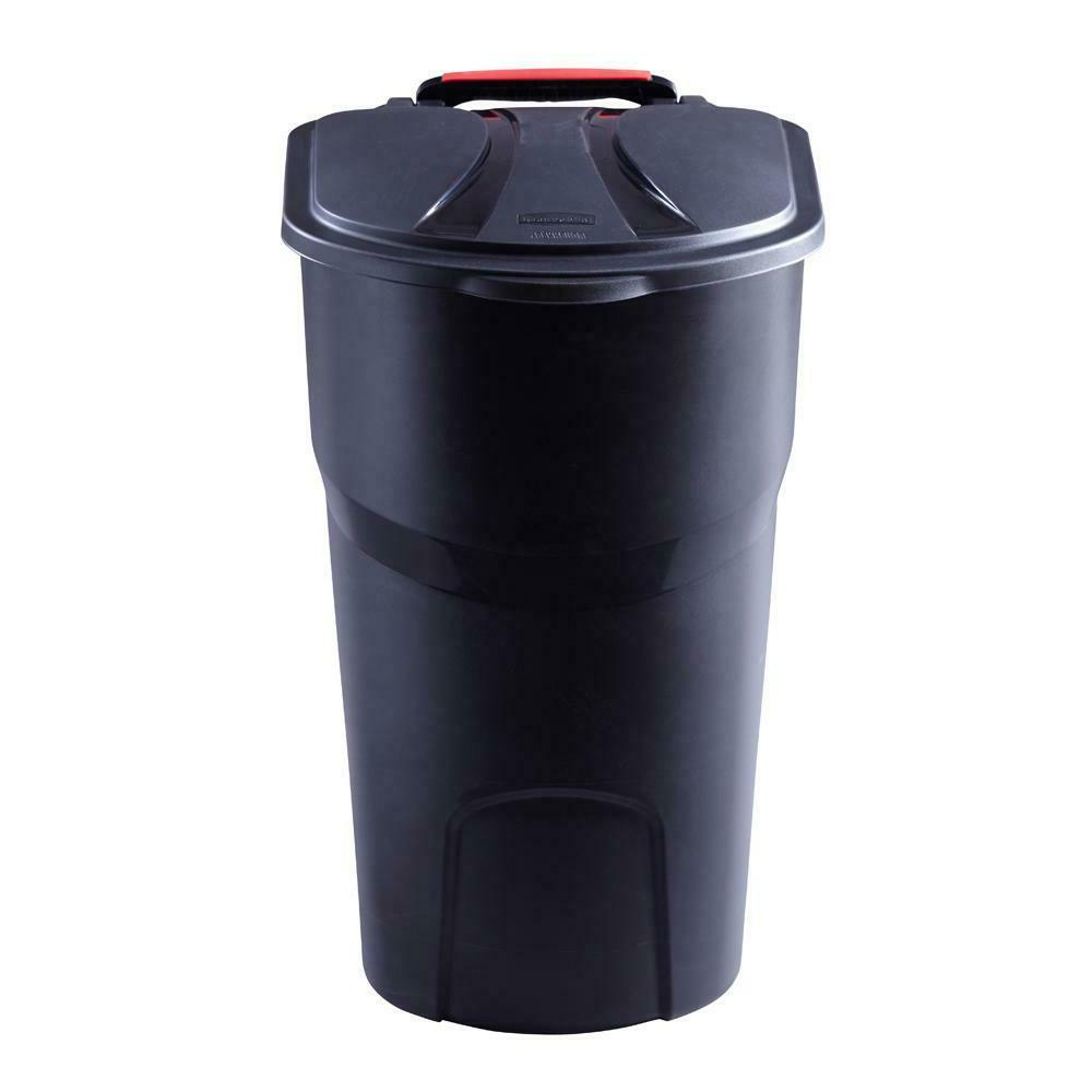 new roughneck wheeled trash can with garbage
