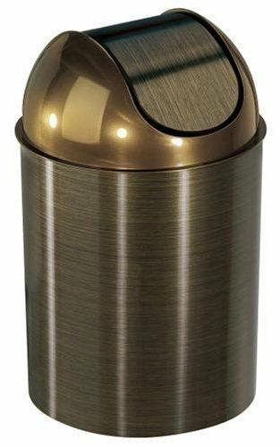 Swing-Top Waste Can 2.5 Gallon Bronze Trash Bin With Lid Bed
