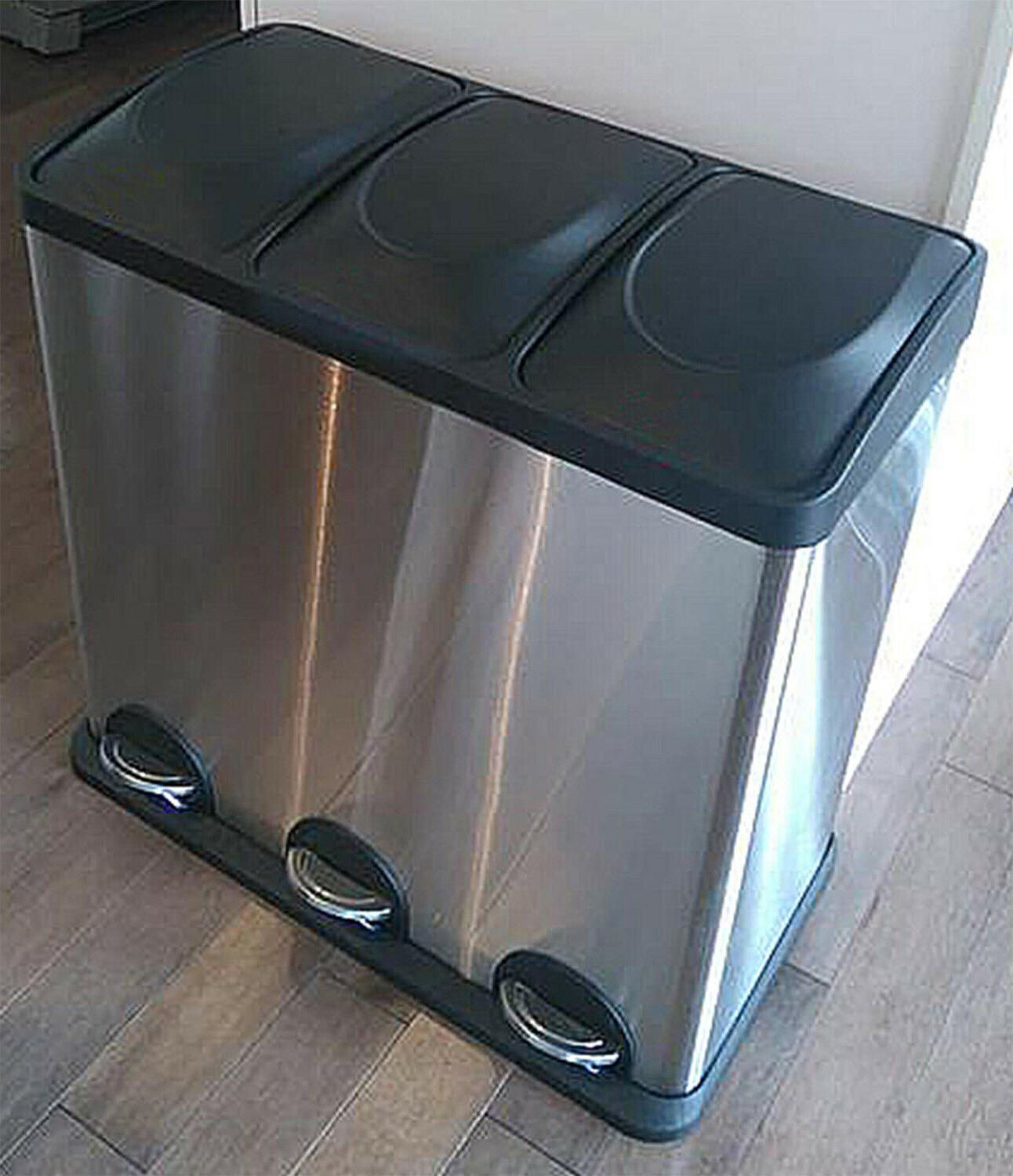 Triple Compartment Trash Can, Modern Design Home Office Tras