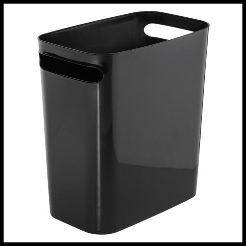 una rectangular trash can w handles waste