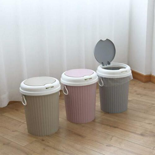US Plastic Portable Trash Can Bin Lid Home Bathroom Basket