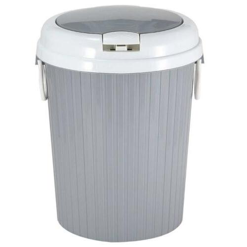 US Plastic Portable Trash Can Garbage Bin Lid Home Kitchen Basket