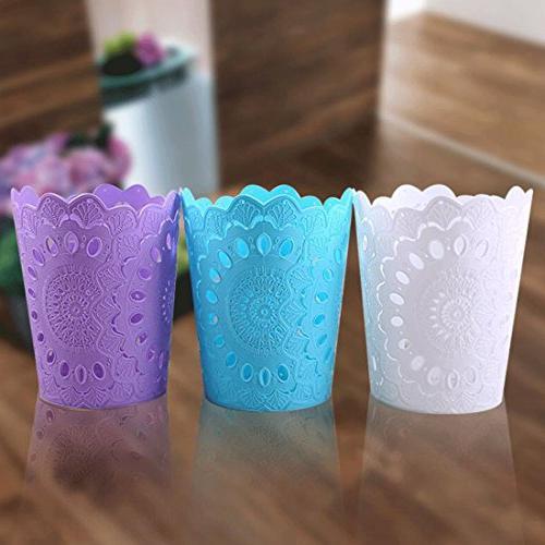 Wastebasket,Hmane Hollow Pattern Solid Paper Basket Trash Dustbin 7.8 x 9.4