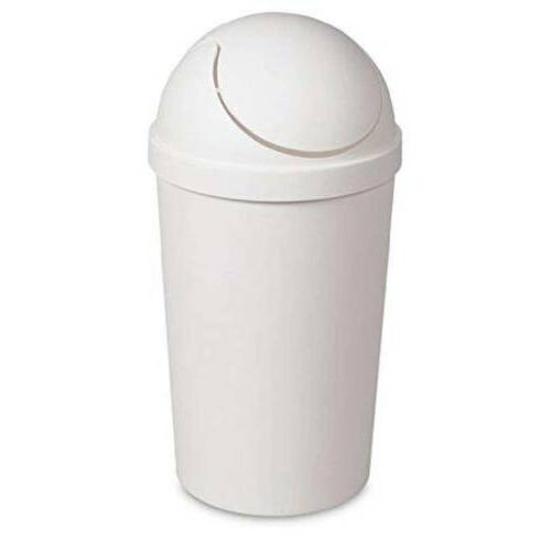 Sterilite White 12 Qt Swing-Top Wastebasket, Trash Can, Quic