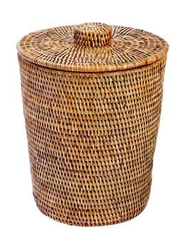 La Jolla Rattan Round Waste Basket with Plastic Insert & Lid