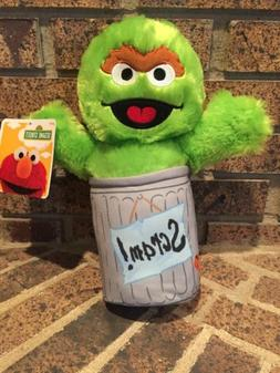 Large 12'' Sesame Street Oscar the Grouch in Trash Can Scram