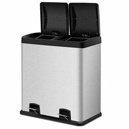 Large 16-Gallon Dual Compartment Kitchen Trash Can with Foot