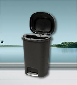Large Kitchen Trash Can 13 Gallon Garbage Can Black Plastic