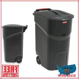 Large Rolling Outdoor Trash Can Wheeled Waste Garbage Bin Pl