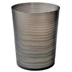 Interdesign Lotus Wastebasket Trash Can, Black/Clear