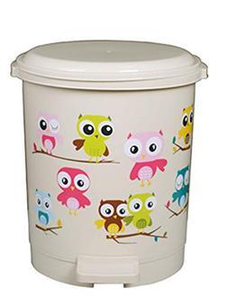 Battletter Lovable Creative Cartoon Owl Step Trash Can