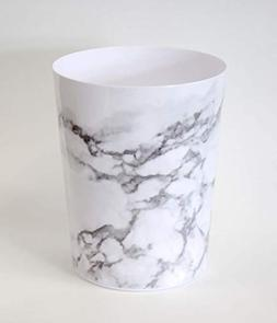 Splash Home Marble Wastebasket Trash Can, Grey, 9.75 x 7.75